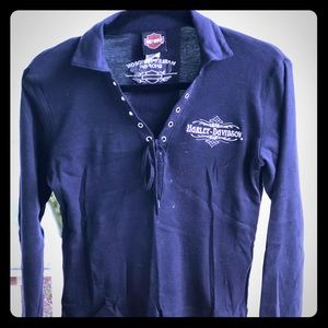 Harley Davidson Long Sleeve With Front Grommet Tie
